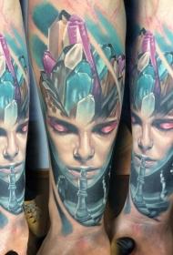 new school小腿彩色女人与钻石纹身图案