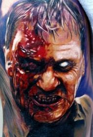 惊人的彩色恐怖风格的僵尸肖像纹身图案