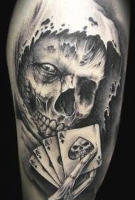 死神和扑克牌纹身图案