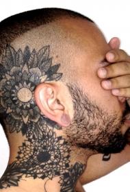 头部黑色各种花朵装饰纹身图案