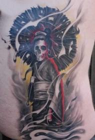 腰侧彩色艺妓骷髅纹身图案