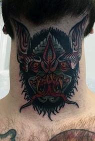 颈部老派风格的恶魔蝙蝠头纹身图片