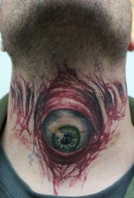 颈部血腥的眼球纹身图案