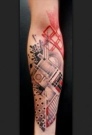 手臂超现实主义风格的彩色各种饰品纹身