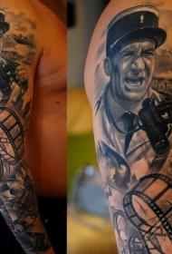 路易斯演员肖像纹身图案