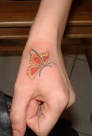 手部彩色漂亮的小蝴蝶纹身图片