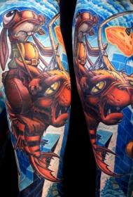 手臂彩色卡通主题的各种英雄纹身