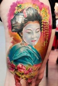 女性腿部日式水彩艺妓纹身图案