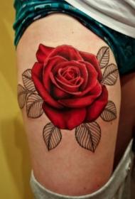 女性腿部彩色大玫瑰纹身图案