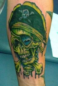 手臂彩色海盗骷髅交叉纹身图案
