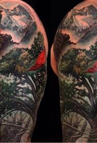 大臂惊人的锡纸幻想森林纹身图案