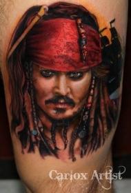腿部彩色逼真的海盗杰克纹身图案