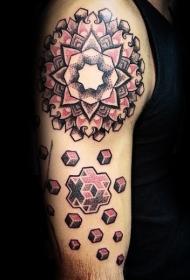 肩部彩色具有几何图形的花卉纹身