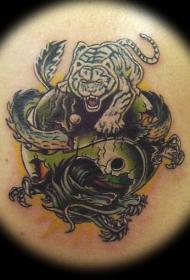 龙与虎在阴阳八卦上纹身图案