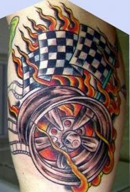 车轮和火焰赛车旗帜纹身图案