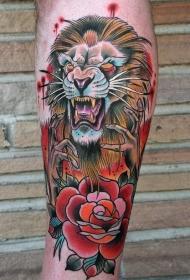 old school彩色邪恶狮子与玫瑰纹身图案