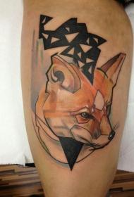 腿部彩色几何狐狸纹身图案