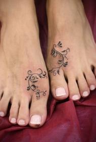 女性脚背有趣简单的图腾纹身图片