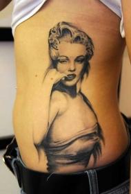 腰侧黑白欧美女人纹身图案