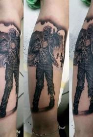 腿部棕色怪物僵尸纹身图案