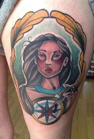 腿部彩色印度妇女与指南针纹身