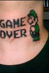 脖子上彩色马里奥纹身图案