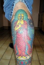 腿部彩色大黄如来佛祖纹身图片