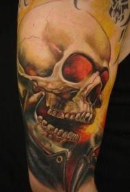 肩部彩色奇妙的头骨纹身图片
