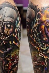 腿部彩色星战主题的纹身图案