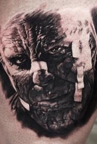 腿部棕色恐怖电影怪物纹身图片