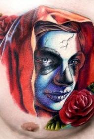 胸部彩色死圣肖像纹身图案
