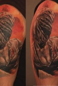 彩色肩部寂静山护士怪物纹身图案