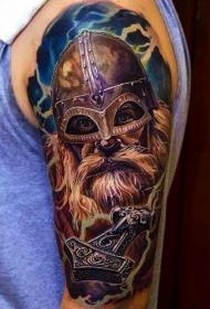 肩部彩色中世纪老战士纹身图案