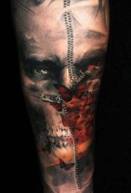 腿部彩色幽灵般的僵尸恐怖纹身