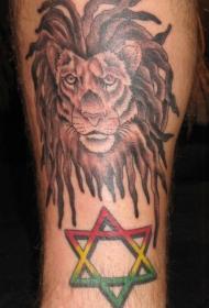腿部彩色狮子头英文纹身图案