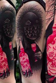 肩部彩色神秘怪物瓶纹身图案