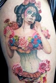 腿部彩色墨西哥妇女与花纹身图案