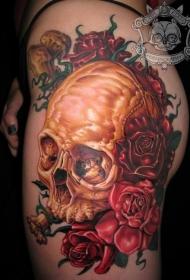 腿部彩色骷髅和红色玫瑰纹身图片