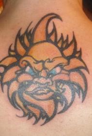 颈部彩色原始太阳纹身图案