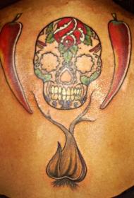 背部彩色糖头骨与胡椒纹身图案