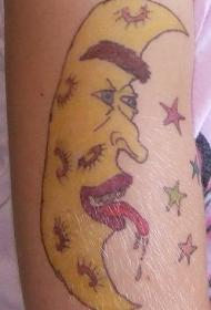 手臂彩色丑月新月纹身图案