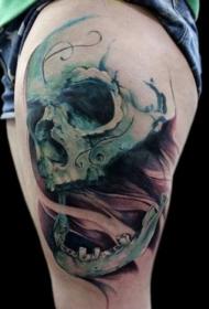 腿部彩色骷髅头纹身图案