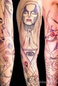手臂彩色素描风格套各种动物与女人纹身