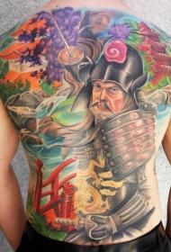 满背彩色日本武士纹身图案