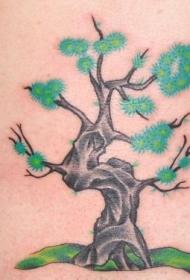 肩部彩色小树纹身图案