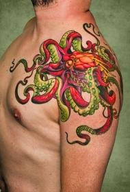 男性肩部彩色章鱼纹身图案