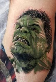 腿部彩色愤怒的绿巨人肖像纹身