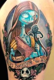 肩部彩色圣诞节主题女怪纹身