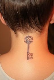 女性颈部简约钥匙纹身图案