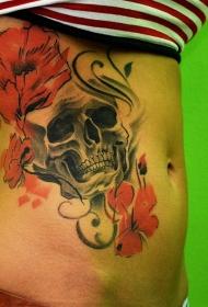 腰侧复古彩色骷髅头与花纹身图案
